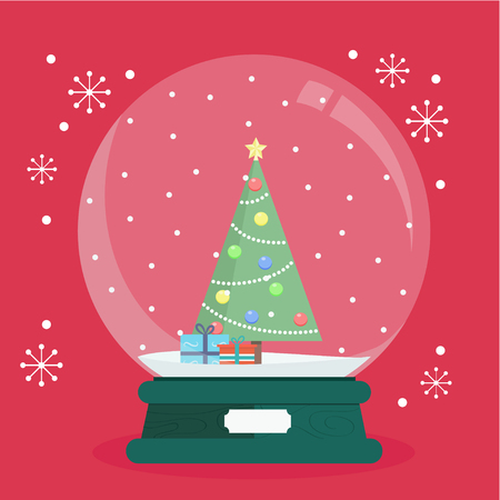 Vector Illustration a spherical glass snow globe Christmas decoration