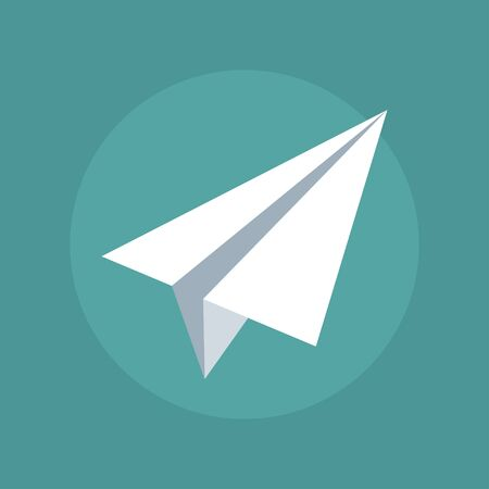 paper plane: Vector paper airplane. Isolation of flat paper plane. Icon white paper plane. Child paper plane. Origami airplane. Paper plane on a dark background. Sign a paper plane.