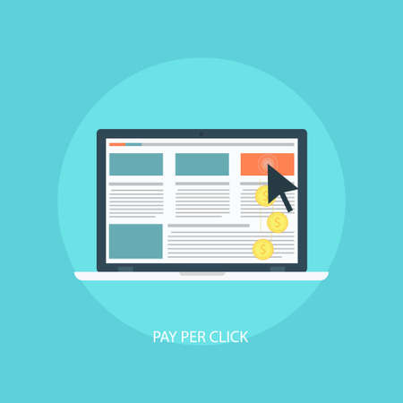 emarketing: Flat Icon pay per click. Vector illustration PPC. The concept of online advertising. Design contextual Internet advertising. Click on your ad. illustration clickjacking. Illustration