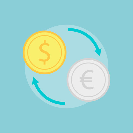 foreign currency: Exchange icon vector.  Money exchange concept symbol.  Exchange rate design. Currency exchange isolated sign. Change money flat icon. Purchase of foreign exchange. Exchange euros for dollars.