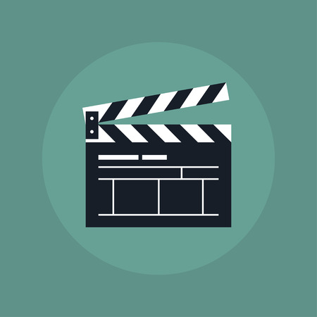 clapper board: Clapper board icon. Clapper board in flat style. Open clapper board. Movie clapper board. Clapper board icon on color background. Clapper board sign to indicate videos and movies. Illustration