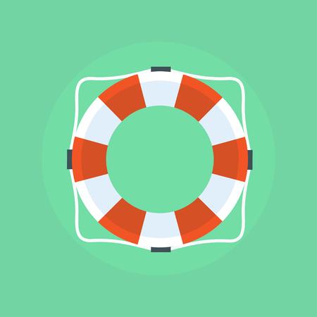 ring life: Lifebuoy in flat style. Lifebuoy icon. Lifebuoy isolated.  Lifebuoy on a light background. Vector life ring. Isolation life preserver. Life buoy. Illustration