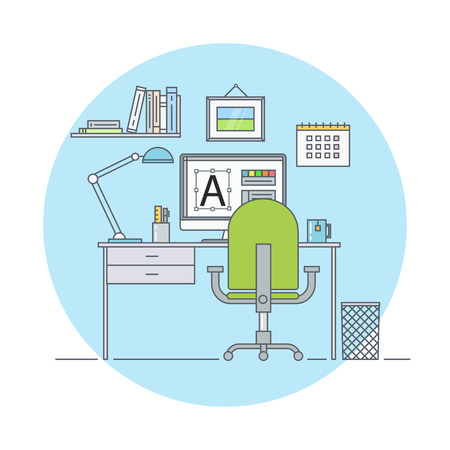 creative artist: Workplace designer flat linear style. Workplace at modern office. Home workplace. Graphic artist work place. Workplace in the interior of the room a web designer. Creative office interior.