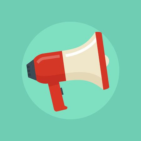 Loudspeaker vector illustration. Megaphone flat symbol. Loudspeaker in a flat style. Concept of promotion, advertising, communication. Megaphone icon. Loudspeaker icon. Megaphone isolated.