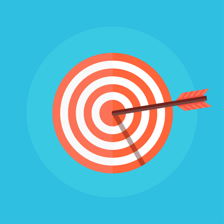 Target flat icon. Target vector. Concept target market, audience, group, consumer. Bullseye icon. Goal icon. Isolated target. Target logo. Target symbol. Illustration of a target with an arrow.