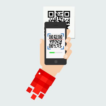 QR code scanning mobile phone. Capture QR code on mobile phone. Symbol scanning qr code. Concept recognition qr code. Reading qr code mobile phone.