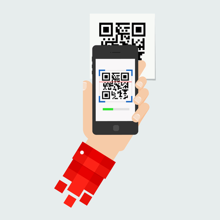 QR code scanning mobile phone. Capture QR code on mobile phone. Symbol scanning qr code. Concept recognition qr code. Reading qr code mobile phone.