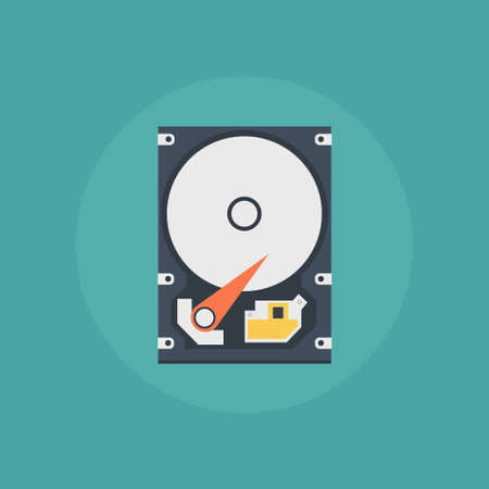 hard disk: Hard disk in a flat style. Hard disk icon. Hard disk vector. Hard drive disk in on colored background. Open hard disk drive. Hard disk isolated.