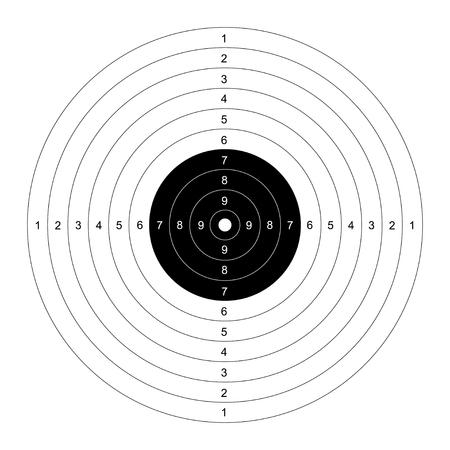 Modelo en blanco para la competición deporte de tiro al blanco. diana limpio para campo de tiro. diana del vector para el tiro con pistola. Blanco con números. Plantilla objetivo Campo de tiro.