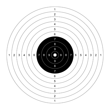 Blank template for sport target shooting competition. Clean target for shooting range. Vector target for pistol shooting. Target with numbers. Template Shooting range target.