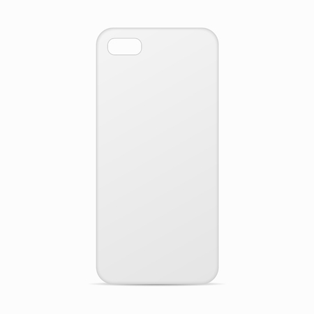 White clean template cover phone. Blank template case phone. Phone Case for customization. Case for smartphone. Mobile phone cover back. Blank phone cover for design.