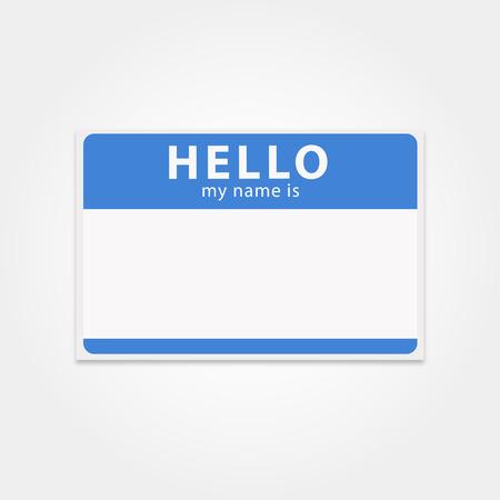 Blanco sjabloon tag mijn naam is. Rechthoekige naambadge. Clean hello sticker. Blue hello badge. Vector geïsoleerd naamplaatje.