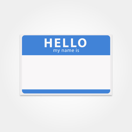 etiqueta de plantilla en blanco mi nombre es. tarjeta de identificación rectangular. hola pegatina limpia. hola insignia azul. aislado vector etiqueta con su nombre.
