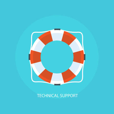 technical: Flat icon support. Technical support concept. Technical Assistance. Online help. Support service concept. Illustration online support. Customer support service.