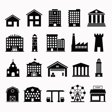 zestaw ikon budynku. Budowanie ikona wektor. Prosty budynek ikonę. Miejskiego budynku ikony. Ikony budynków rządowych. Czarna ikona hous. Płaski budynek symbolem. Zestaw piktogram budynku. Ilustracje wektorowe