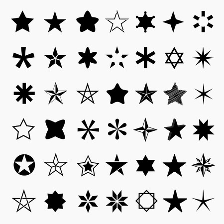 star icon: Set star icons. Collection star pictogram. Black star shape. Simple icon star. Isolated star icons.