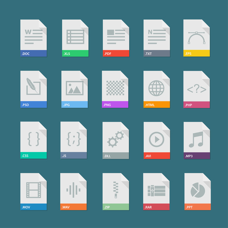 A set of flat icons of file formats. Signs of document types. Isolated set of documents file formats. Icons of file types on a colored background. Flat set of file extensions. Vector file labels.