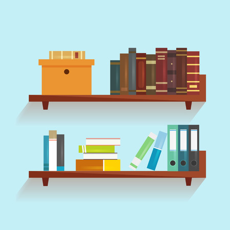 shelf: Vector bookshelf with books. Bookshelf in a flat style with long shadow. Illustration of modern shelves for books. Wall bookshelf with a stack of books. Wooden bookshelf with books in the series.