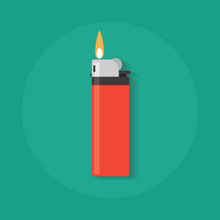flint: Icon lighters in flat style. Vector illustration of lighters with fire, hand lighters, butane lighter. Isolated Pocket Lighter. Modern fuel lighters. Burning Lighter. Vector flaming silicon lighter.