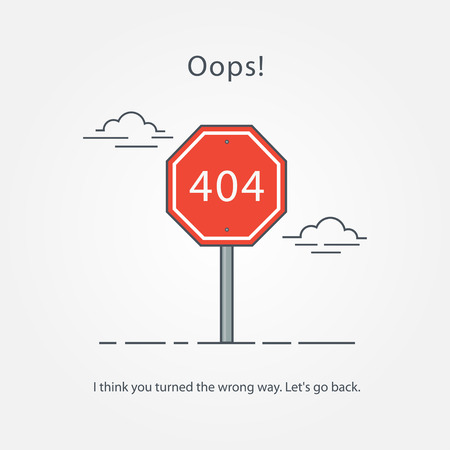 Concept page 404. Design 404 error. Illustration error page not found. A modern, linear design 404 page. Template reports that the page is not found.