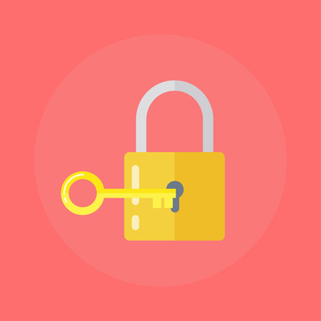 latch: Lock and key. lock with key.  Key lock icon. Vector lock icon key. Lock and key in flat style. Padlock with key. Sign unlocking, access, password. Lock icon. Key icon.