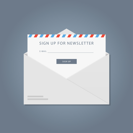 mailing: Template subscription to the newsletter. Flat banner newsletter. The design of of the registration form to the newsletter. Vector form of an email mailing site.