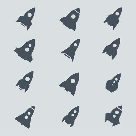 COHETES: icono de cohetes. Conjunto del icono del cohete. Rocket set vector. Icono de cohetes diseño, naves espaciales, nave del cohete. Iconos del concepto de lanza descubrimientos de velocidad. iconos aislados de cohetes. cohete silueta de color negro.
