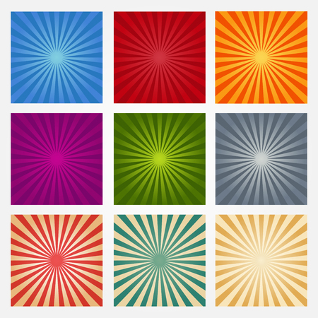 Set of vector backgrounds ray. Abstract sun rays. Collection of blue, red, orange, purple, green and gray vector rays. Vector sun rays. Set texture ray burst. Retro rays background. Isolated light rays.