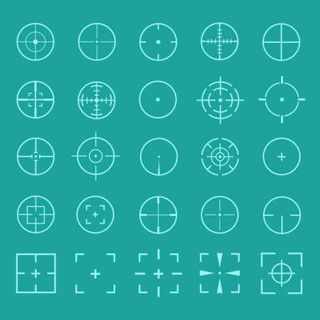 gun sight: Vector set of gun sights. Design crosshairs, target, weapons aiming. Icons gun sight,  gun target, gun scope. Diverse set of round and square sights. Vector set of crosshairs.