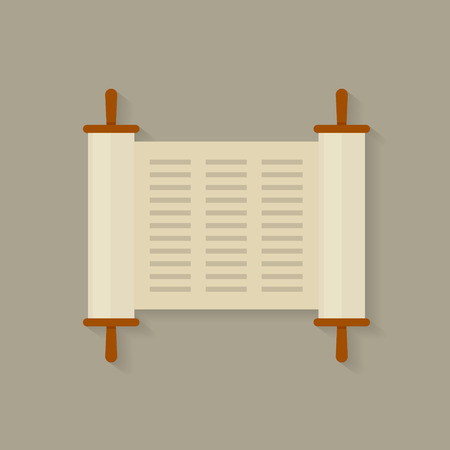 Torah scroll icon. Torah scroll in flat style. Jewish Torah in expanded form. Flat illustration Torah Book, Jewish Torah, law Books. Simple old parchment scroll with the text. Symbol old scroll.