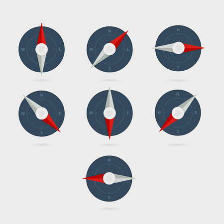 directions icon: Flat vector compass icon. Symbol navigation and travel. Compass directions. Illustration