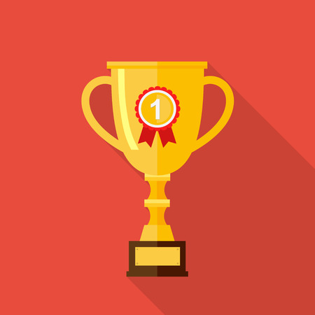 Vector flat trophy cup with long shadow. Icon gold goblet, medieval goblet. Flat Symbol Cup champion. Concept of victory, award, championship, achievement. Isolated Cup prize, cup winner.
