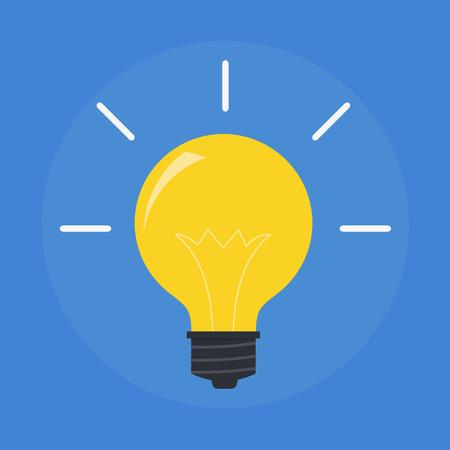 bombillo: bombilla de luz plana del vector. Moderno icono de la bombilla. Concepto de ideas, innovaciones, consejos. Aislado símbolo de la bombilla. Brillante luz amarilla. Idea simple bombilla. Icono de la bombilla eléctrica.