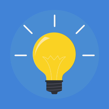 Vector flat light bulb. Modern light bulb icon. Concept ideas, innovations, tips. Isolated light bulb symbol. Glowing yellow light. Simple light bulb idea. Icon electric light bulb.