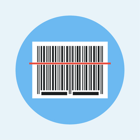 Barcode scanning. Barcode icon vector. Barcode reading concept icon. Barcode vector illustration. Barcode scanner icon. Barcode sticker with red laser beam.