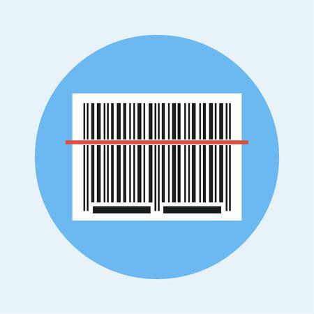 la scansione del codice a barre. Codice a barre vettore icona. Barcode lettura concetto icona. illustrazione vettoriale di codici a barre. icona dello scanner di codici a barre. adesivo di codici a barre con raggio laser rosso. Vettoriali
