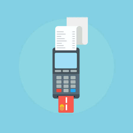 cashless: Pos terminal in flat style. Pos payment.  Pos terminal concept icons. Illustration pos machine or credit card terminal. Concept of cashless payment and credit card payment.  Credit card machine.