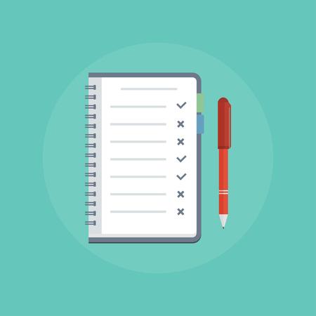 hacer: Para hacer concepto de la lista. Para hacer la lista de iconos. Diseño icono de la lista, una lista, lista de tareas que hacer. Para hacer la lista del vector del tema. Ilustración Cosas que hacer en estilo plano. Recordatorio concepto de icono plana. Para hacer la lista con marcas de verificación.