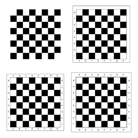 black boards: Chess board vector.  Chess board isolated. Modern chess board background. Empty chess board. Set chess boards. Black and white chess board.