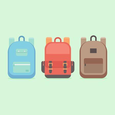 sac à dos de l'école dans un style plat. Les enfants sac à dos sur un fond coloré. Définir des sacs à dos de jeunesse. Sac à dos isolé sur fond. Sac à dos plat illustration vectorielle.