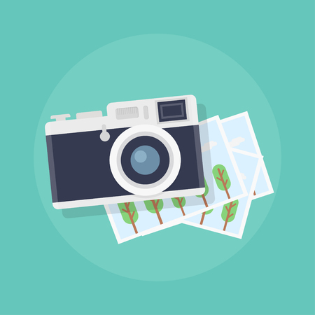 photo shooting: Camera with photos. Camera with photographs in flat style. Camera with snapshots on a colored background. Camera and photo vector illustration. Camera with pictures. Photo shooting. Illustration