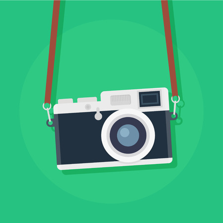 camera: Retro camera in a flat style. Vintage camera on a colored background. Old camera with strap. Isolated antique Camera. Hung retro camera. Retro Camera straps.