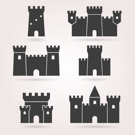 Castle vector set. Castle icon on background. Castle tower in a flat style. Castle silhouette. Medieval castle black. Stock Illustratie
