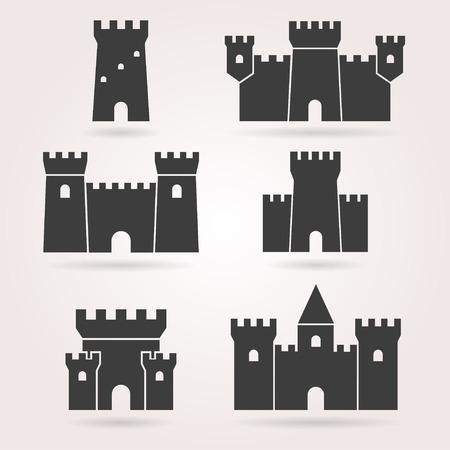 Zamek wektor zestaw. Ikona Zamek w tle. Wieża zamkowa w mieszkaniu stylu. Zamek sylwetka. Średniowieczny zamek czarny.