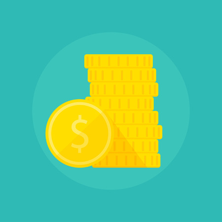 Coins vector illustration. Coins icon in a flat style. Stack of coins on a colored background. Flat vector gold coins.