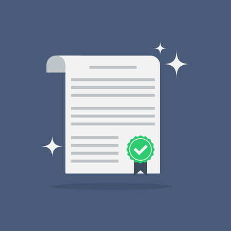 indenture: Contract icon in a flat style. Contract vector icons. Contract isolated on a colored background. Contract concept icons. Design icons of the signed contract. Conclusion of a contract.