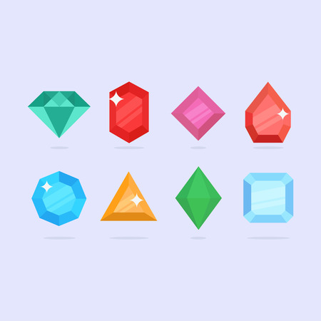 bijou: Diamonds vector illustration. Diamond shapes in a flat style. Diamond stones on a colored background. Set diamonds isolated. Collection of diamonds icons.