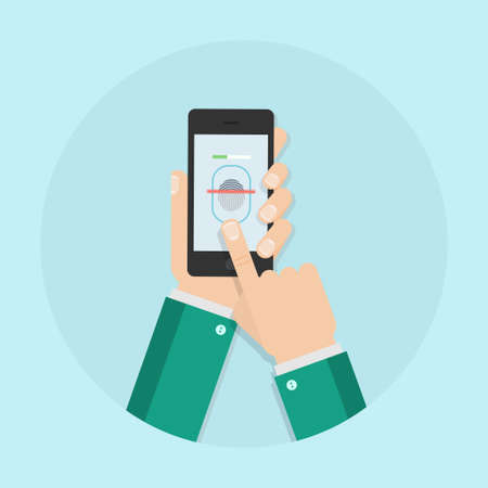 biometric: Fingerprint scanning vector illustration. Fingerprint scan in flat style. Fingerprint scanner. Fingerprint reading mobile phone. Biometric scanner. Fingerprint identification.