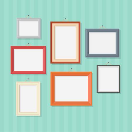 Marco de la foto en un estilo plano. Marco de fotos en la pared. Marco de la foto aislado en un fondo. Foto ilustración vectorial Marco. Marcos de la foto en blanco. Conjunto de marcos de fotos en colores.