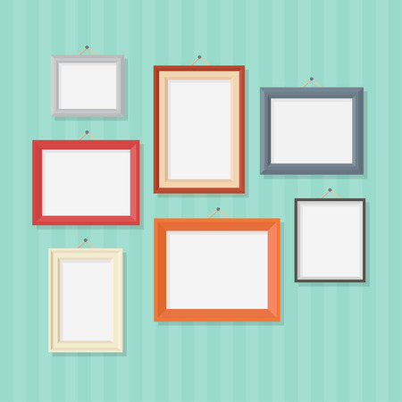 frame: Photo frame in a flat style. Photo frame on wall. Photo frame isolated on a background. Photo frame vector illustration. Photo frames blank. Set of colored photo frames.
